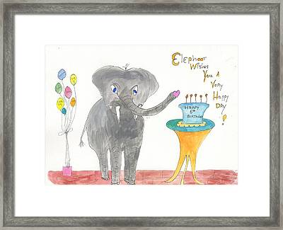 Framed Print featuring the painting Happy Birthday From Elephoot by Helen Holden-Gladsky