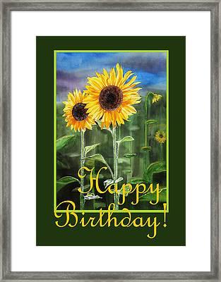 Happy Birthday Happy Sunflowers Couple Framed Print