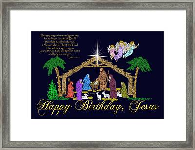 Happy Birthday Jesus Nativity Framed Print by Robyn Stacey