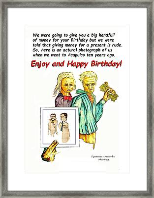 Happy Birthday Office Memo Employee Framed Print