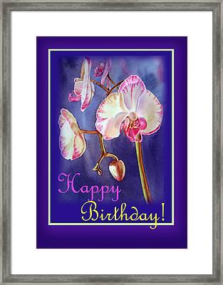 Happy Birthday Orchid Framed Print