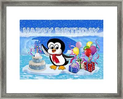 Happy Birthday Penguin Framed Print