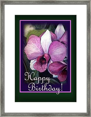 Happy Birthday Purple Orchid Framed Print