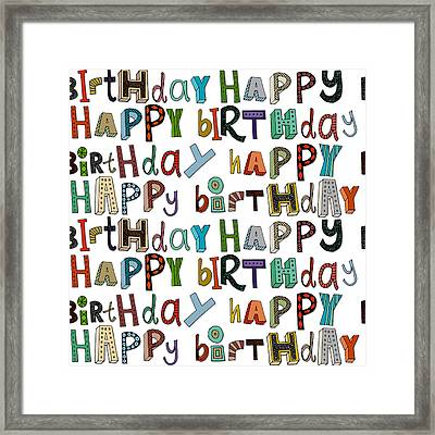 Happy Birthday White Framed Print by Sharon Turner