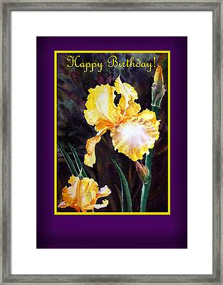 Happy Birthday Yellow Iris Design Framed Print
