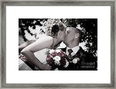 Happy Bride And Groom Kissing Framed Print by Michal Bednarek