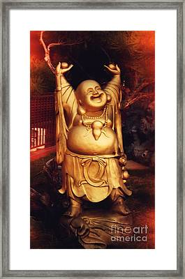 Happy Buddha Framed Print by Angela Wright