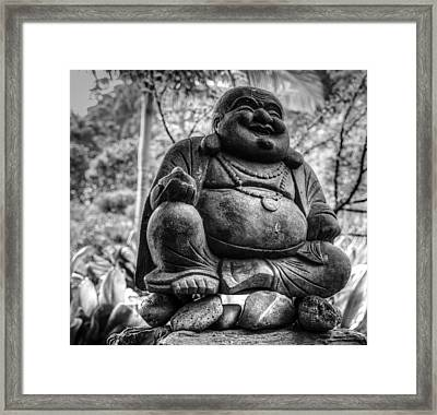 Framed Print featuring the photograph Happy Buddha by Cathy Donohoue