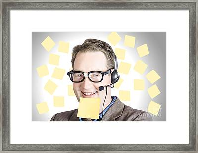 Happy Business Man Wearing Helpdesk Headset Framed Print by Jorgo Photography - Wall Art Gallery