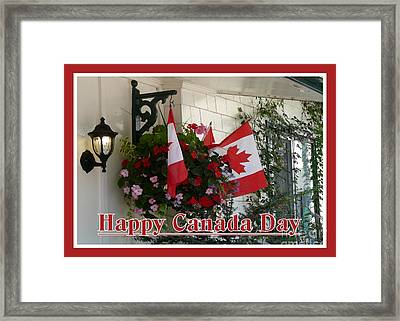 Happy Canada Day Floral Framed Print by Avis  Noelle