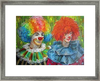 Gemini Clowns Framed Print by Jieming Wang
