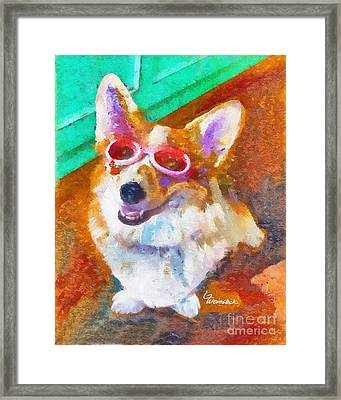 Framed Print featuring the painting Alameda Happy Little Cancer Survivor  by Linda Weinstock