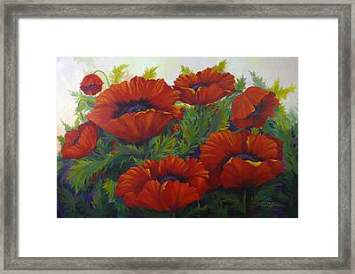 Happy Dance Red Poppies Framed Print by Karen Mattson