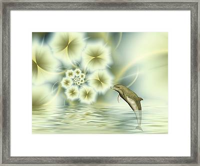 Happy Dolphin In A Surreal World Framed Print