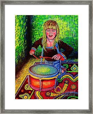 Happy Drummer Framed Print by Viktor Lazarev