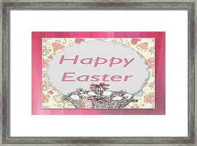 Happy Easter Basket Framed Print by Debra     Vatalaro