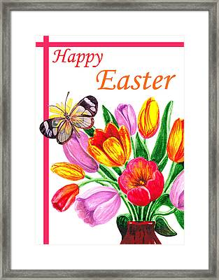 Happy Easter Butterfly Framed Print