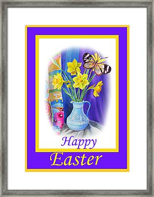 Happy Easter Daffodils Framed Print