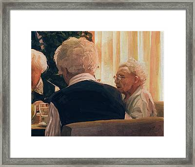 Happy Elderly Framed Print by Nop Briex