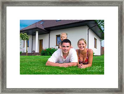Happy Family And House Framed Print by Michal Bednarek