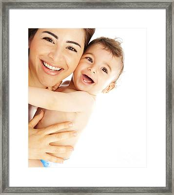 Happy Family Laughing Faces Framed Print by Anna Om