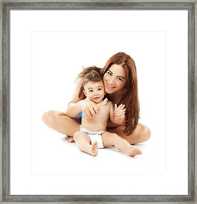 Happy Family Playing Framed Print by Anna Om