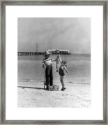 Happy Fishing Framed Print by Retro Images Archive