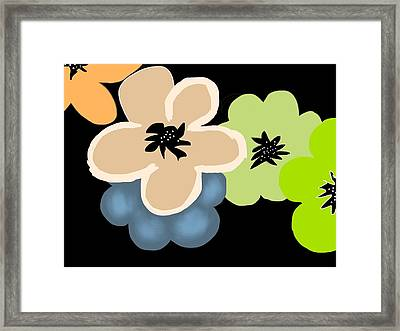 Framed Print featuring the digital art Happy Flowers Blue by Christine Fournier
