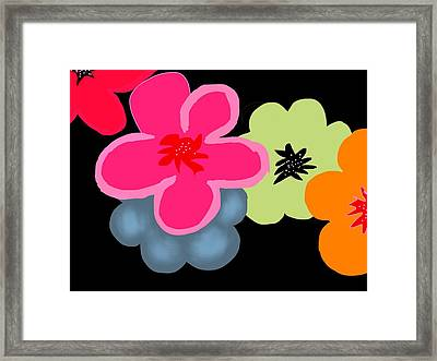 Framed Print featuring the digital art Happy Flowers Pink by Christine Fournier
