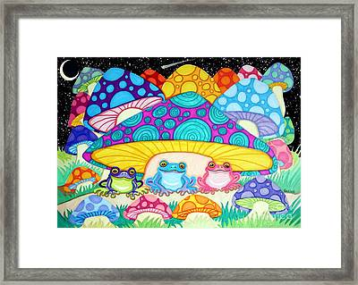 Happy Frogs In The Starlight  Framed Print