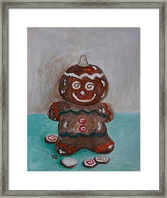 Happy Gingerbread Man Framed Print