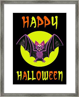 Happy Halloween Bat Framed Print