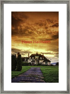Happy Halloween Fiery Castle Framed Print by Eti Reid