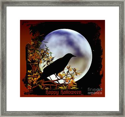 Happy Halloween Moon And Crow Framed Print