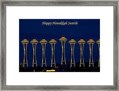 Happy Hanakkah Seattle Framed Print by Tikvah's Hope