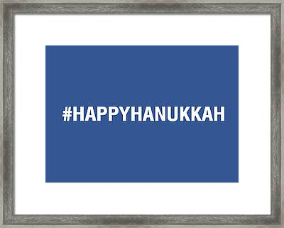 Happy Hanukkah Hastag Framed Print by Linda Woods