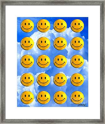 Happy Happy Sunshine Day Bubble Smile Smiley Poster Print Original Signed Art Framed Print