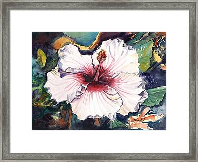 Framed Print featuring the painting Happy Hawaiian Hibiscus by Marionette Taboniar