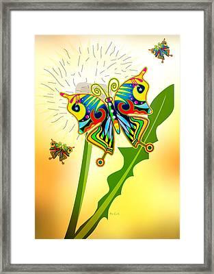 Happy Hippie Butterflies Framed Print by Bob Orsillo