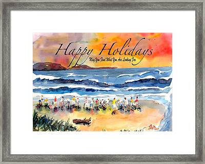 Happy Holiday Clam Diggers Framed Print by John Dunn