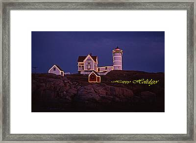 Happy Holidays At Nubble Framed Print by Skip Willits