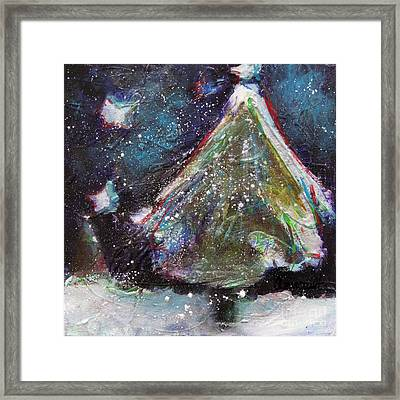 Happy Holidays Blue And Red Wishing Stars Framed Print by Johane Amirault