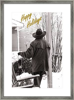 Happy Holidays Cowboy Framed Print by Olivier Le Queinec