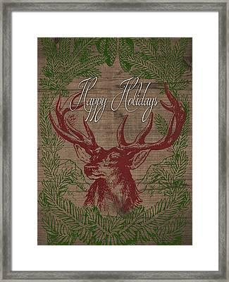 Happy Holidays Deer Framed Print by South Social Studio