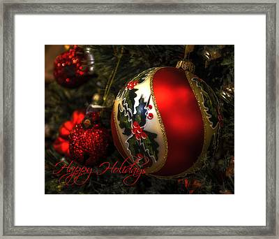 Happy Holidays Greeting Card Framed Print by Julie Palencia