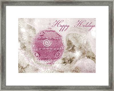 Happy Holidays In Pink And White Framed Print