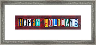 Happy Holidays License Plate Art Letter Sign Framed Print by Design Turnpike