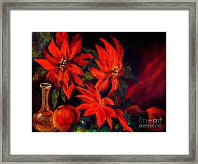 New Orleans Red Poinsettia Oil Painting Framed Print