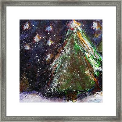 Happy Holidays Red And Gold Wishing Stars Framed Print by Johane Amirault