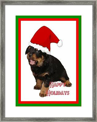 Happy Holidays Rottweiler Christmas Greetings  Framed Print by Tracey Harrington-Simpson